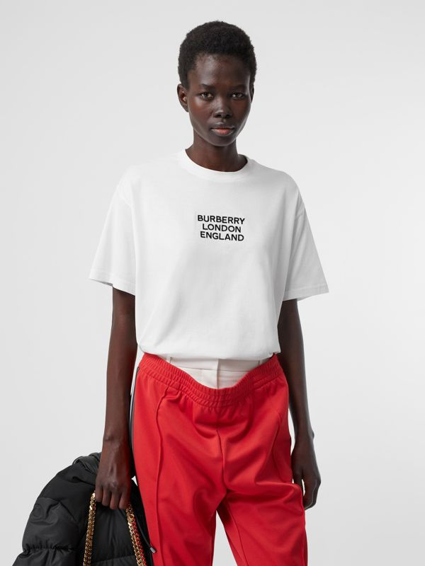 Embroidered Logo Cotton Oversized T-shirt in White - Women | Burberry - cell image 3