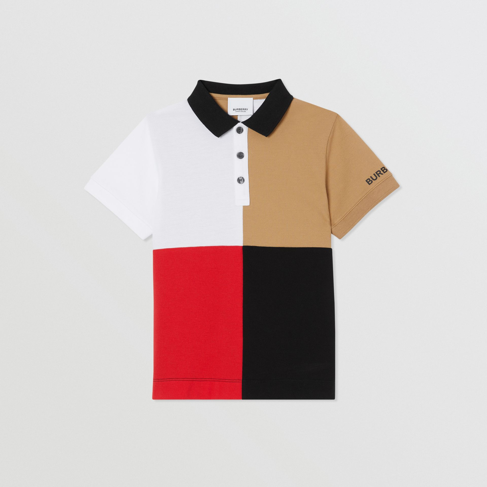 Polo color-block en coton (Beige D'archive) | Burberry Canada - photo de la galerie 0