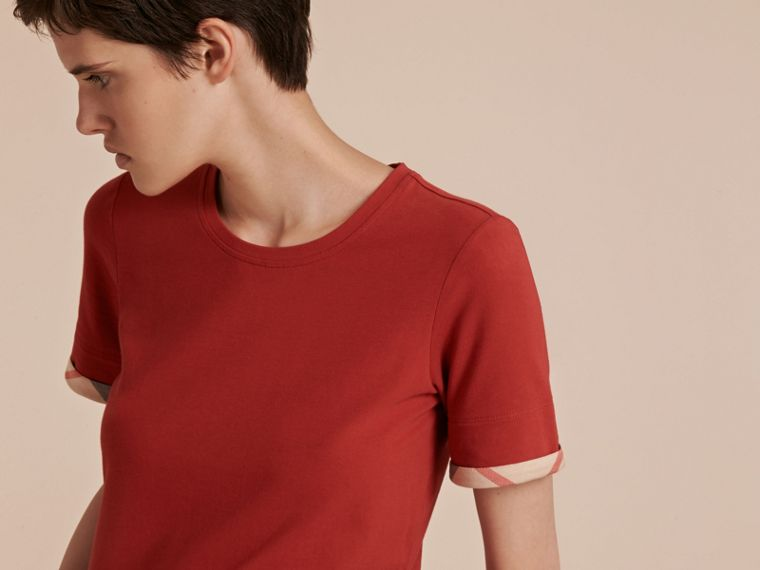 Check Cuff Stretch Cotton T-Shirt in Lacquer Red - cell image 4