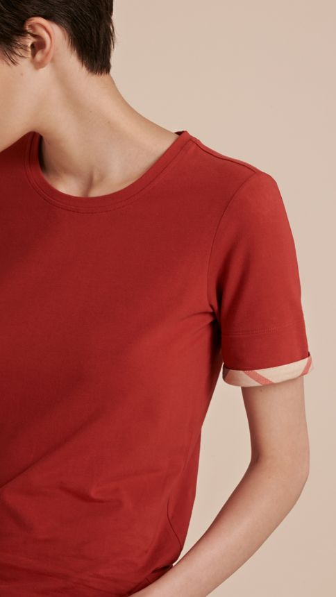 Lacquer red Check Cuff Stretch Cotton T-Shirt Lacquer Red - Image 5