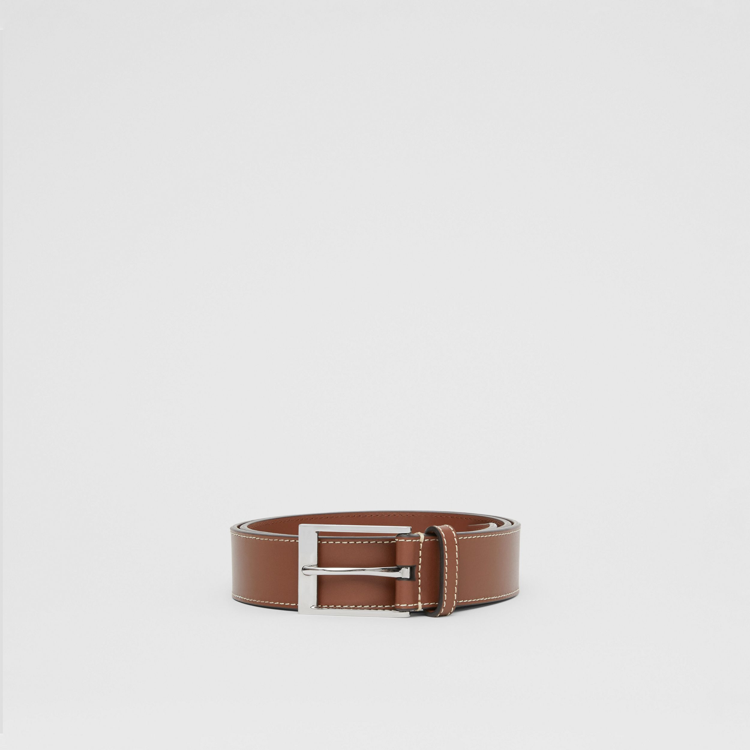 Topstitched Leather Belt in Tan - Men | Burberry - 4