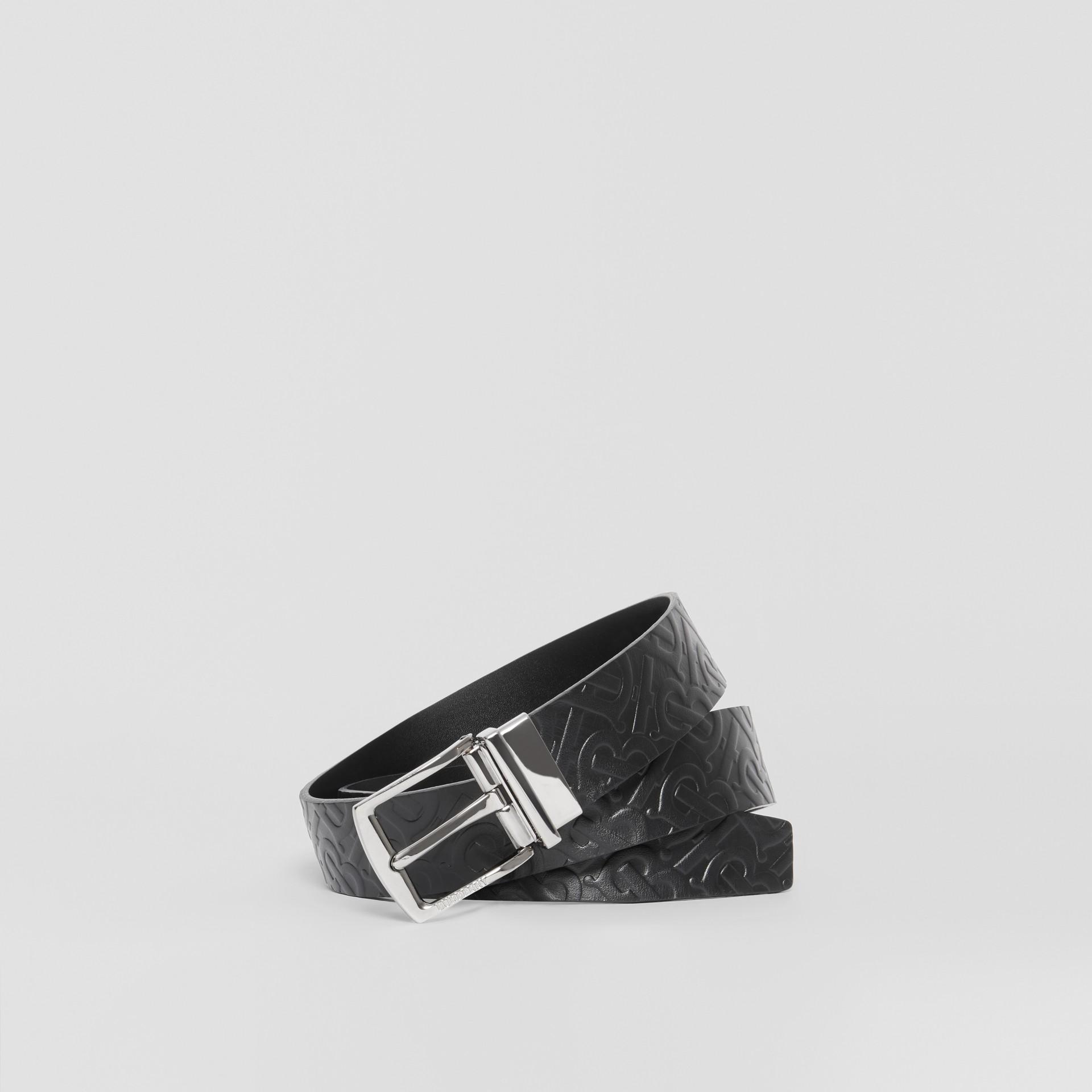 Reversible Monogram Leather Belt in Black - Men | Burberry - gallery image 0