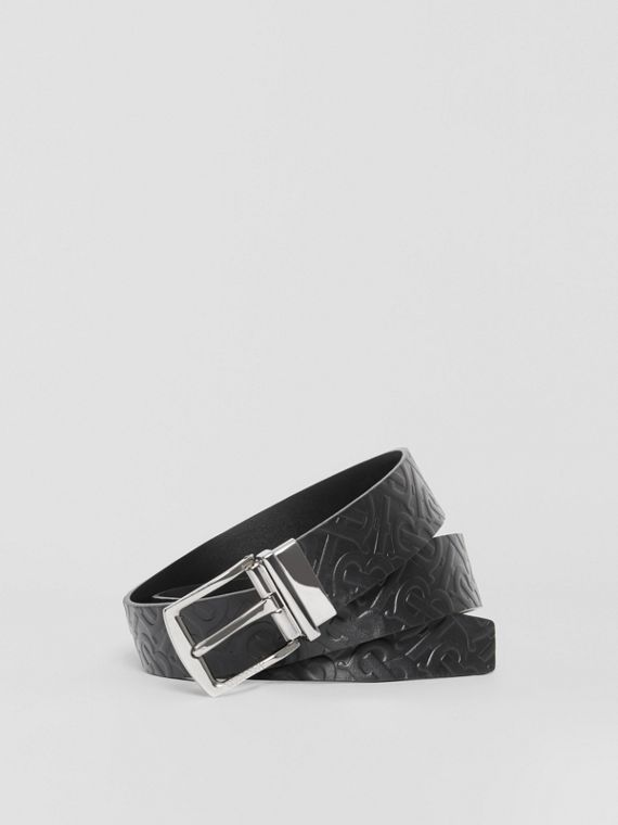 Reversible Monogram Leather Belt in Black