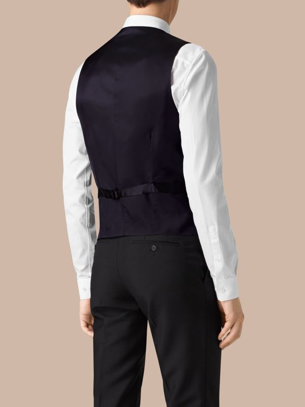 Slim Fit Wool Waistcoat in Navy - Men | Burberry United Kingdom - cell image 2