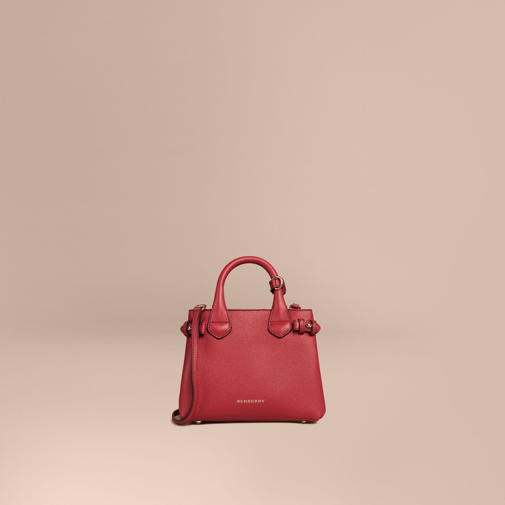The Baby Banner en cuir et coton House check (Rouge Feuille Morte) - Femme | Burberry - photo de la galerie 7