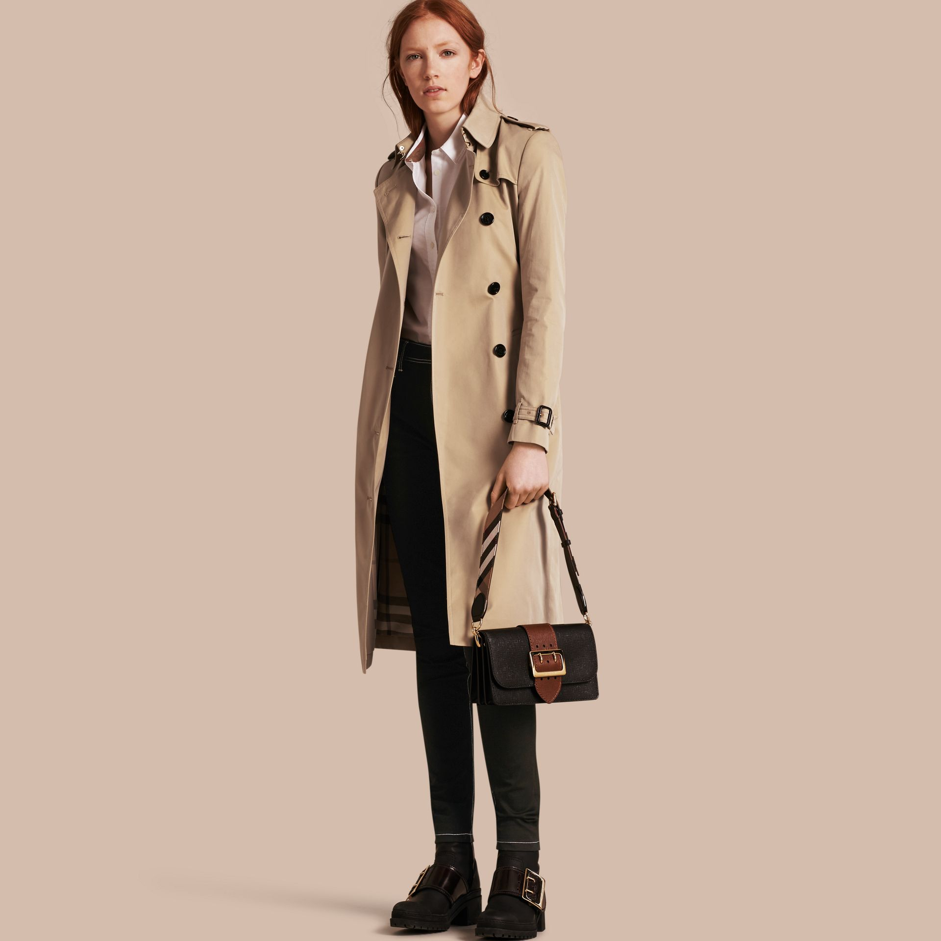 Honey Cotton Gabardine Trench Coat - gallery image 1