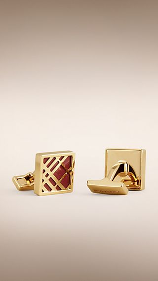 Check Detail Square Cufflinks