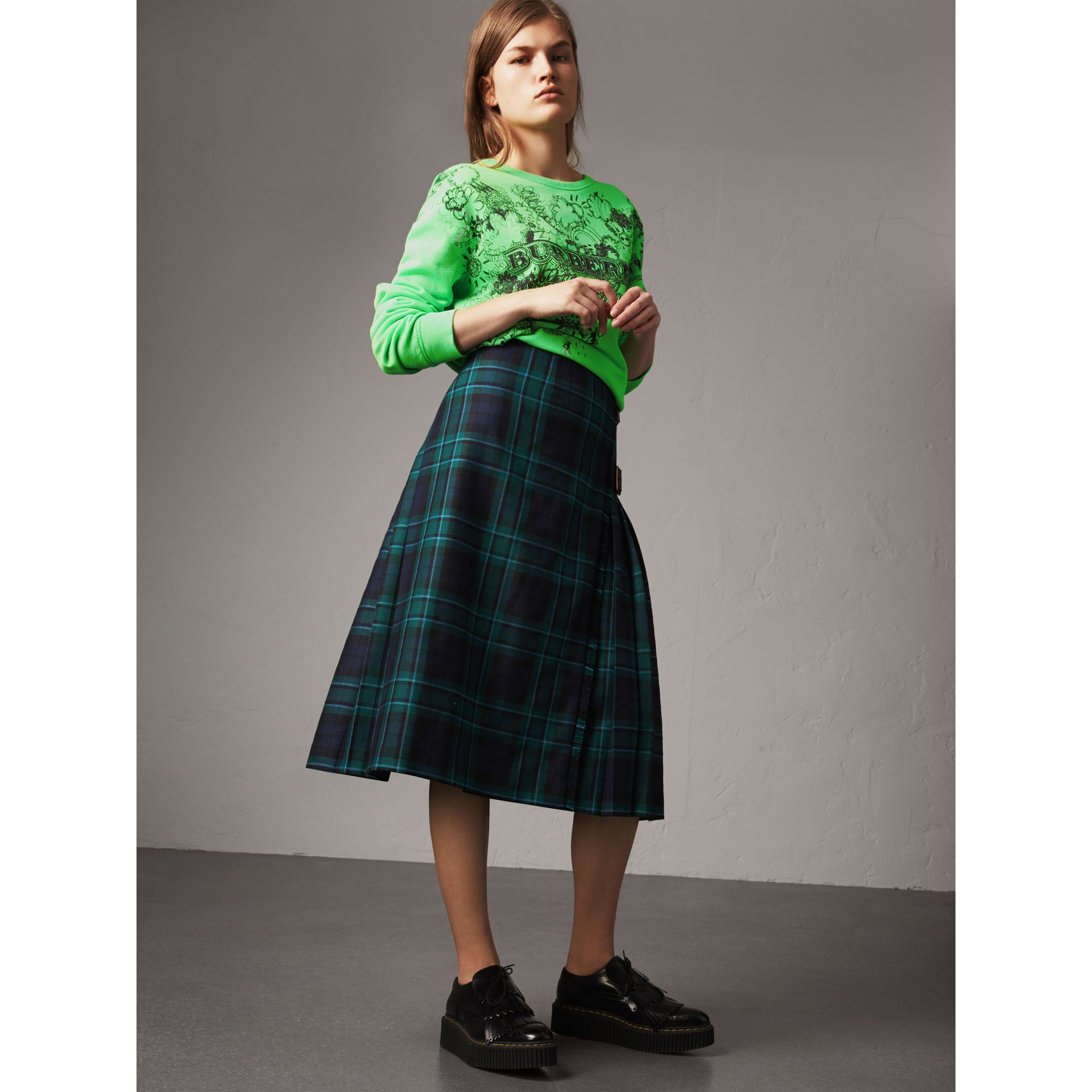 Tartan Wool Kilt in Pine Green - Women | Burberry - gallery image 4