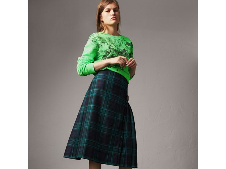 Tartan Wool Kilt in Pine Green - Women | Burberry - cell image 4