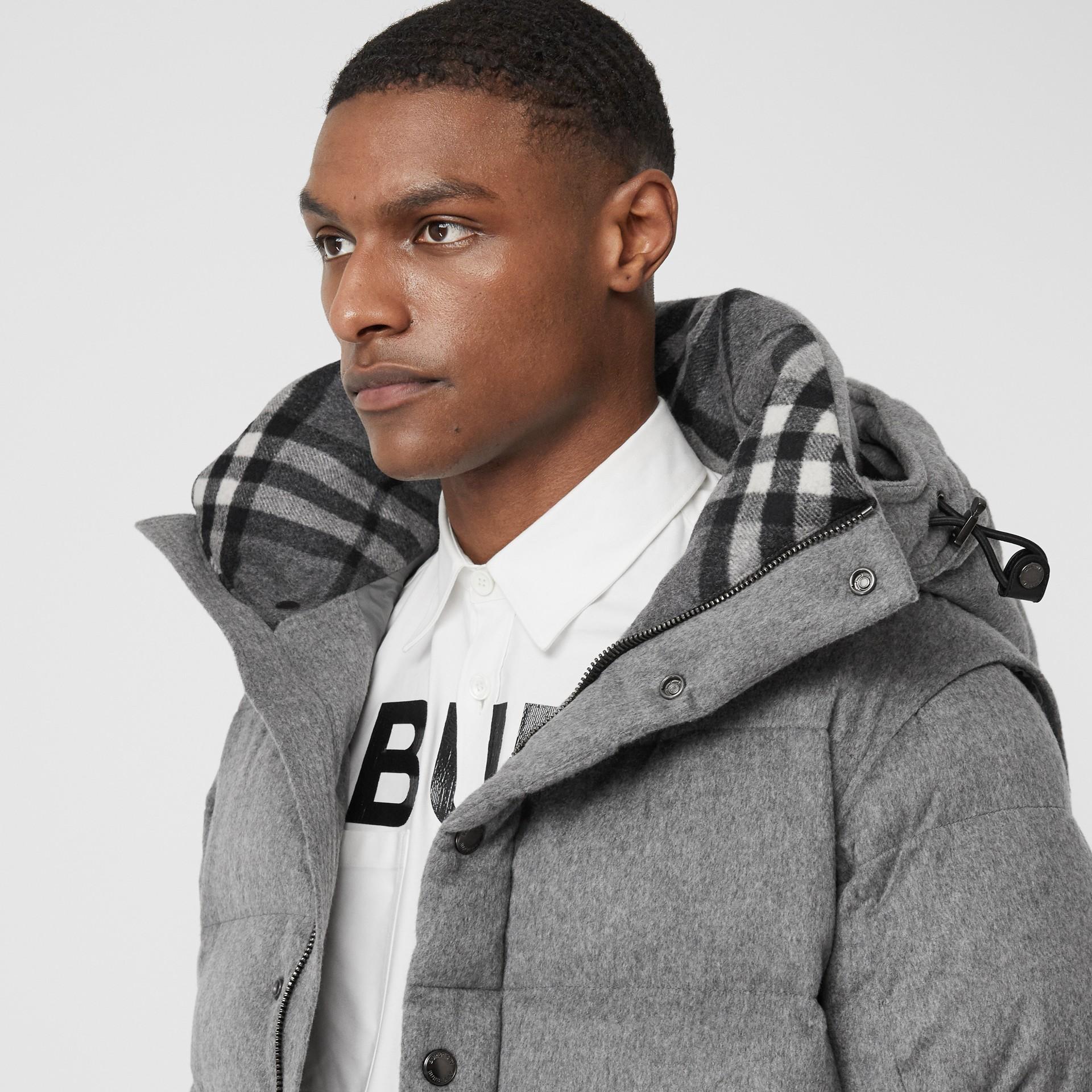 Detachable Sleeve Cashmere Hooded Puffer Jacket in Mid Grey Melange - Men   Burberry United Kingdom - gallery image 4
