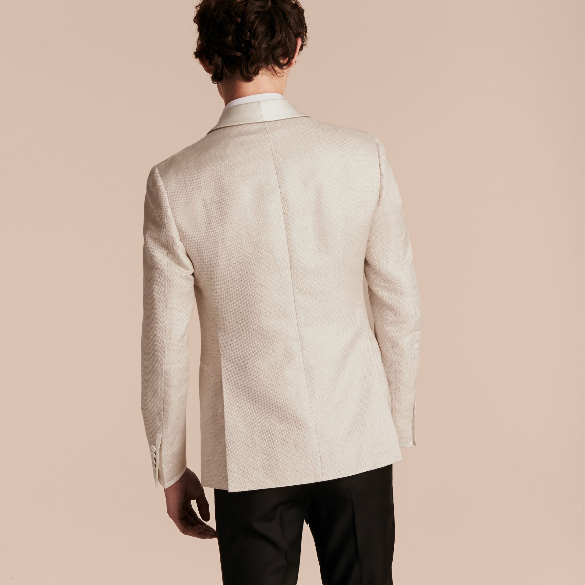 Slim Fit Shawl Lapel Linen Silk Evening Jacket Stone - gallery image 3