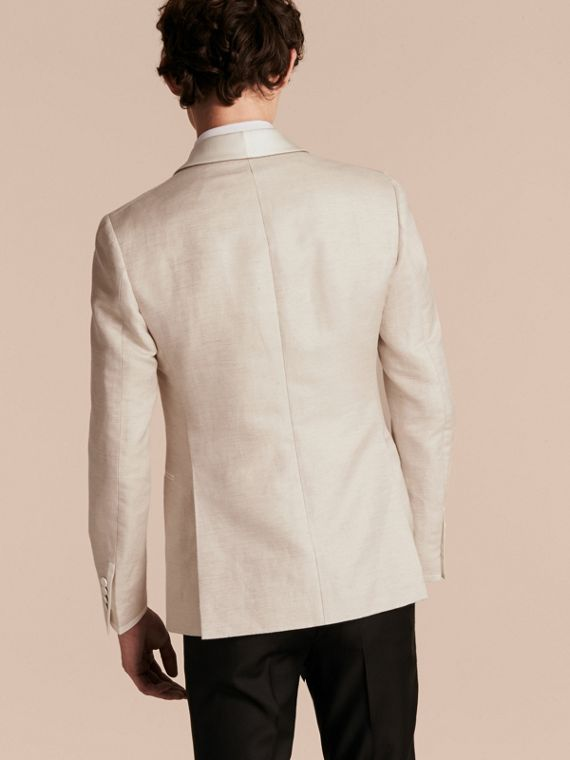 Slim Fit Shawl Lapel Linen Silk Evening Jacket in Stone - cell image 2