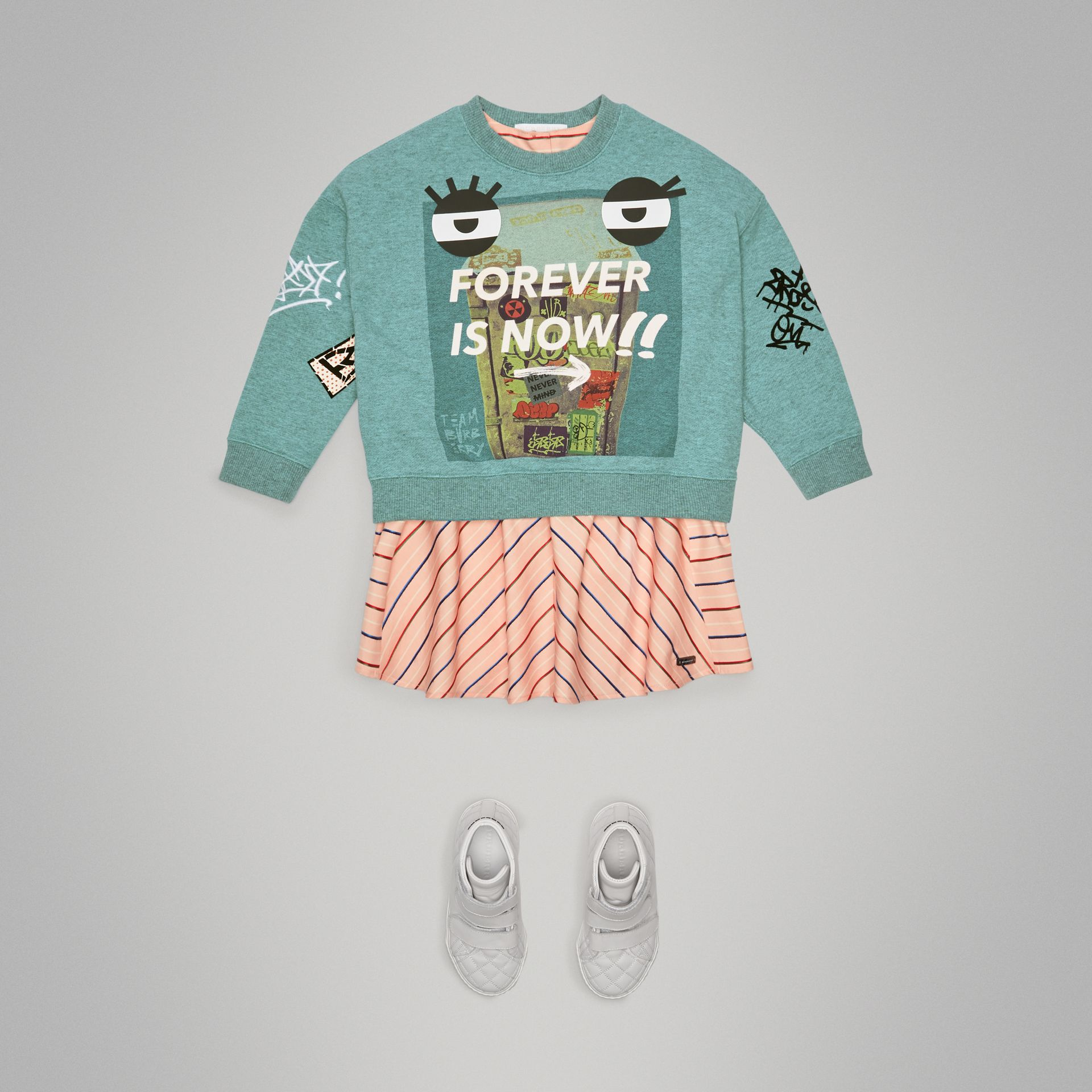 Forever is Now Print Cotton Sweatshirt in Turquoise - Girl | Burberry - gallery image 2