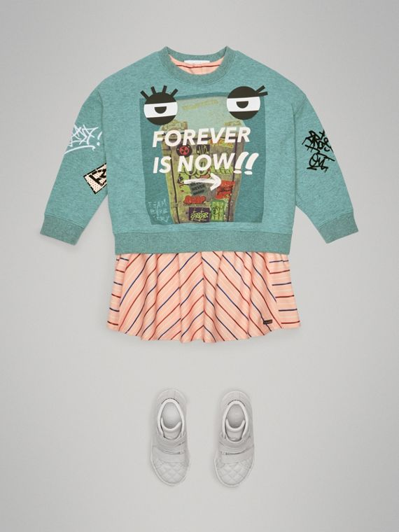 Forever is Now Print Cotton Sweatshirt in Turquoise - Girl | Burberry - cell image 2