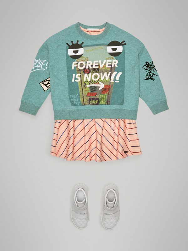 Forever is Now Print Cotton Sweatshirt in Turquoise | Burberry - cell image 2