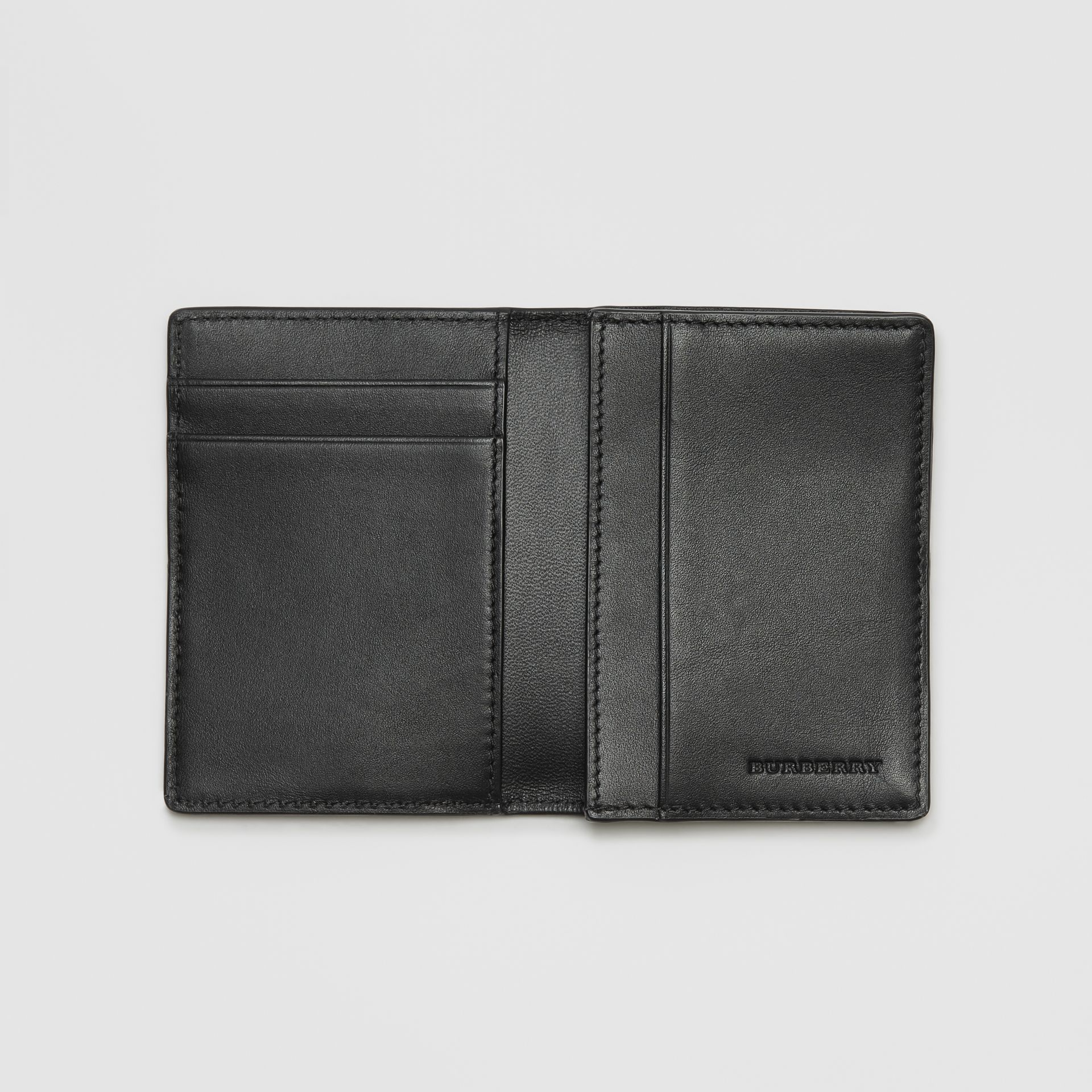 London Check and Leather Folding Card Case in Navy/black - Men | Burberry Canada - gallery image 3