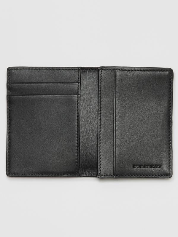 London Check and Leather Folding Card Case in Navy/black - Men | Burberry - cell image 3