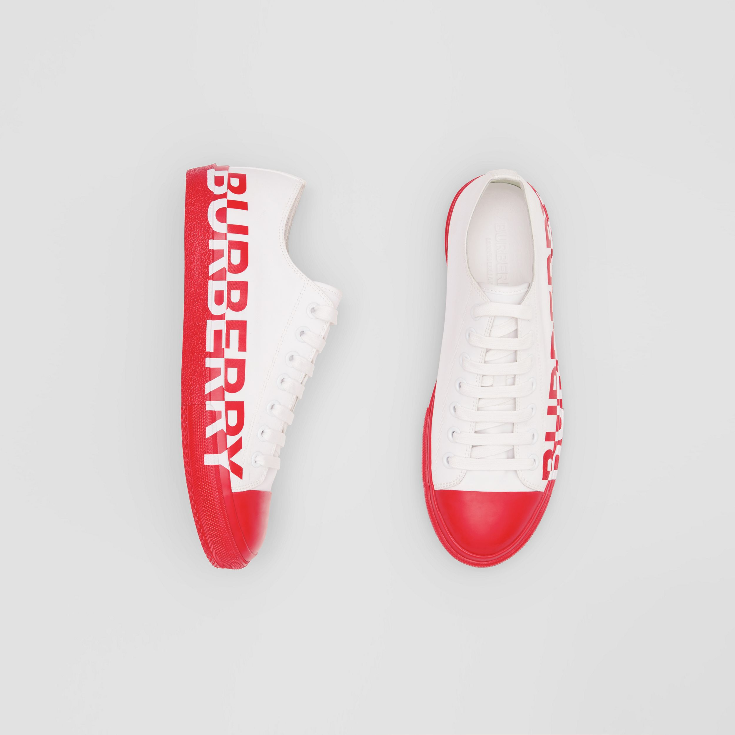 Logo Print Two-tone Cotton Gabardine Sneakers in Bright Red - Men | Burberry - 1