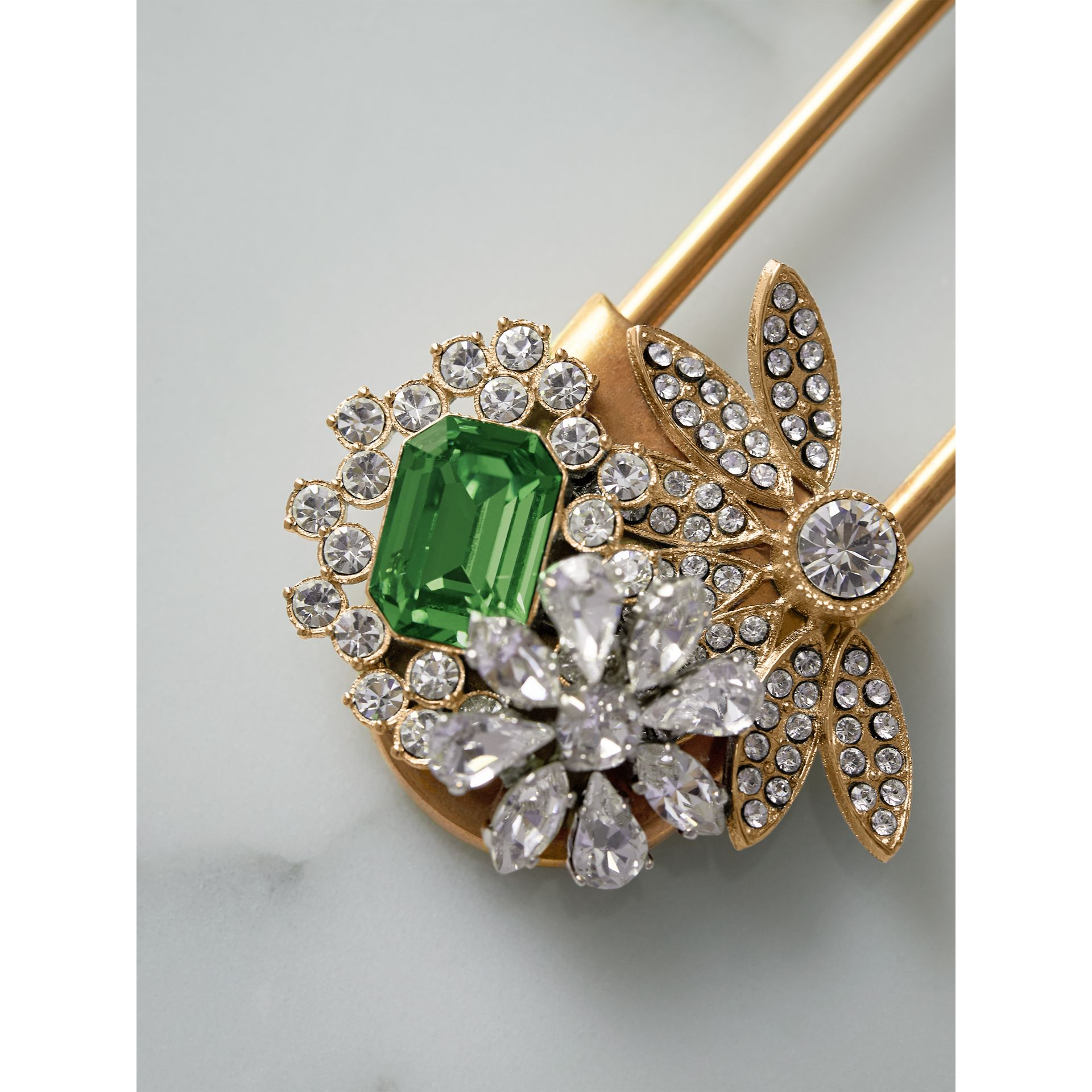 Crystal and Brass Oversized Pin in Peridot Green | Burberry Singapore - gallery image 1