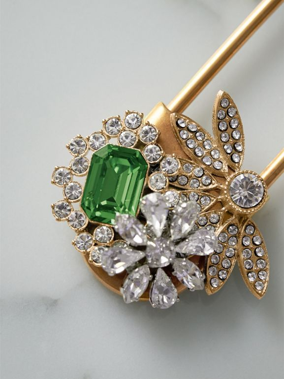 Crystal and Brass Oversized Pin in Peridot Green | Burberry - cell image 1