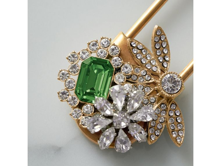 Crystal and Brass Oversized Pin in Peridot Green | Burberry United Kingdom - cell image 1