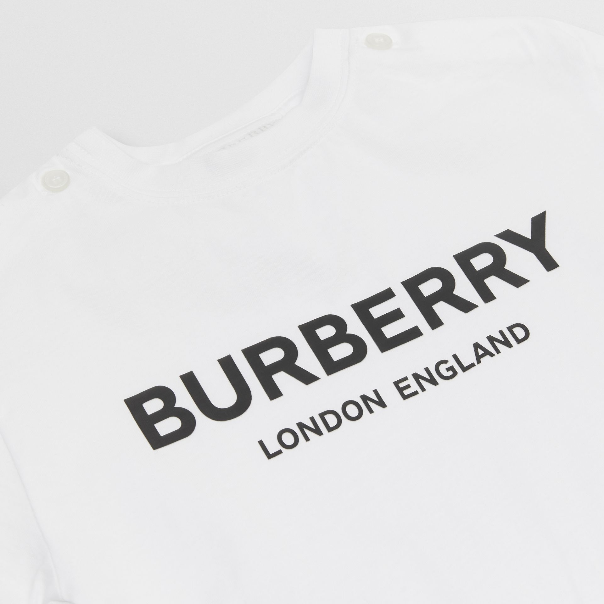 Logo Print Cotton T-shirt in White - Children | Burberry Hong Kong S.A.R - gallery image 1