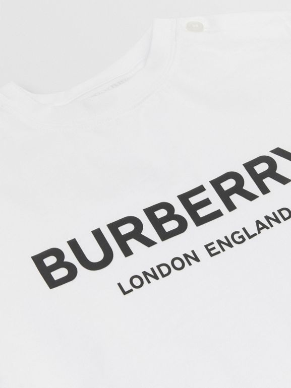 Logo Print Cotton T-shirt in White - Children | Burberry - cell image 1