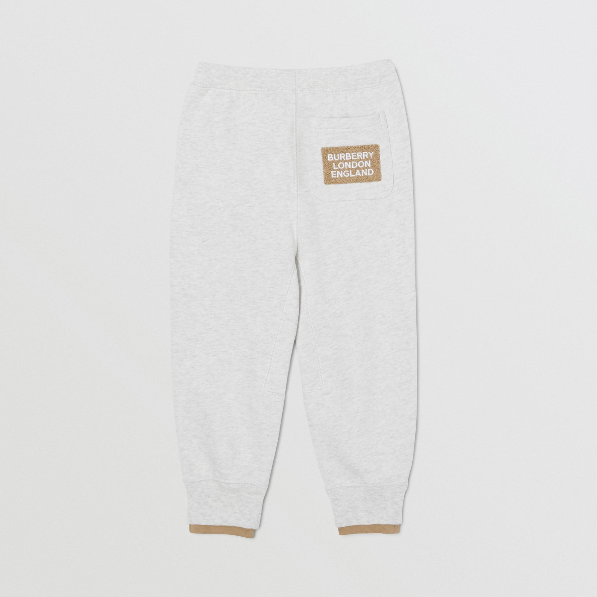 Logo Detail Cotton Trackpants in White Melange | Burberry - gallery image 4