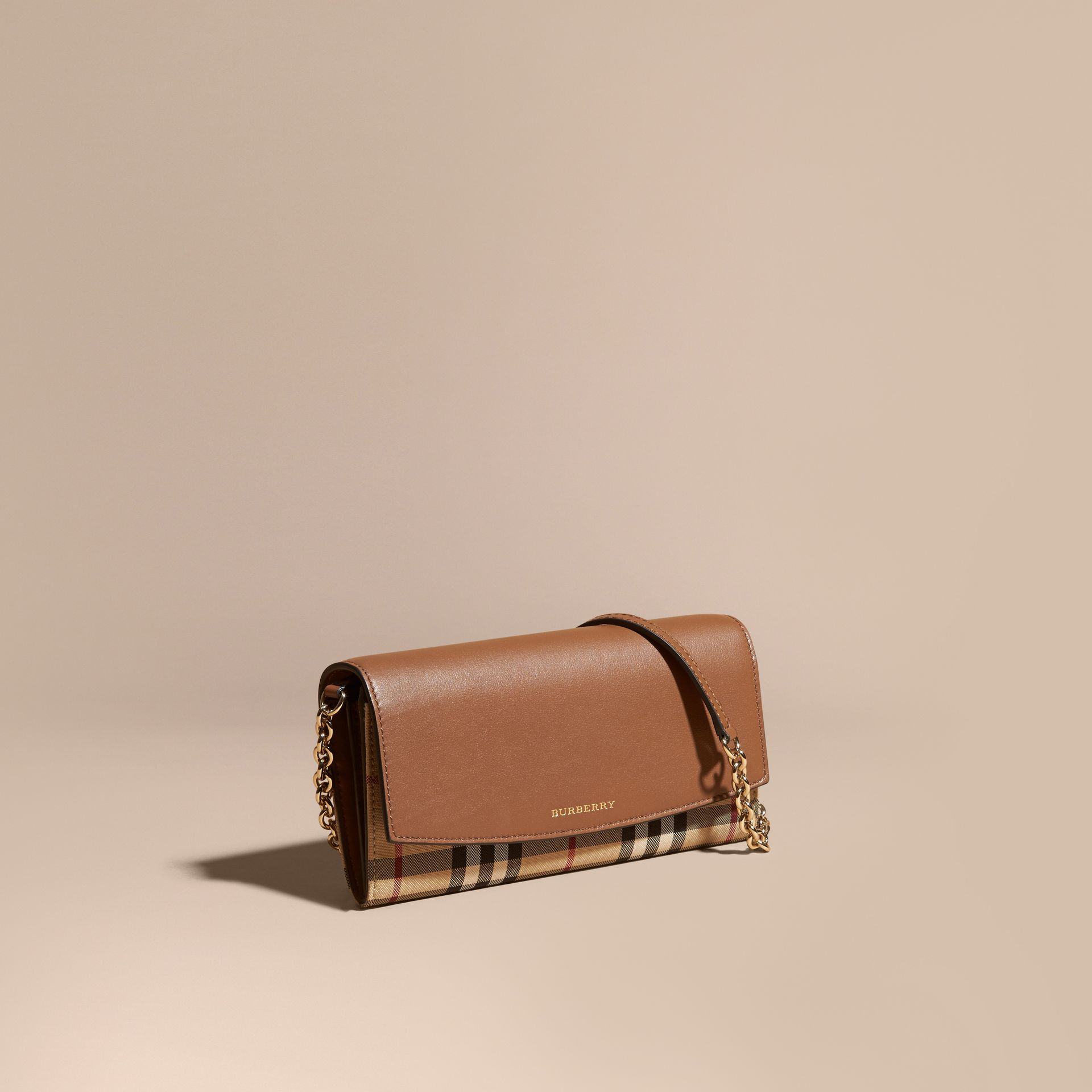 Horseferry Check and Leather Wallet with Chain in Tan - Women | Burberry - gallery image 1