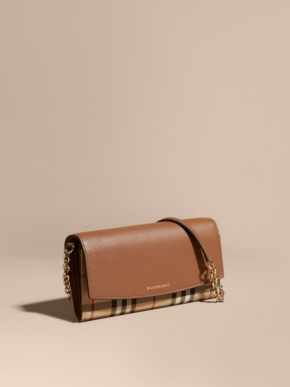 Horseferry Check and Leather Wallet with Chain in Tan