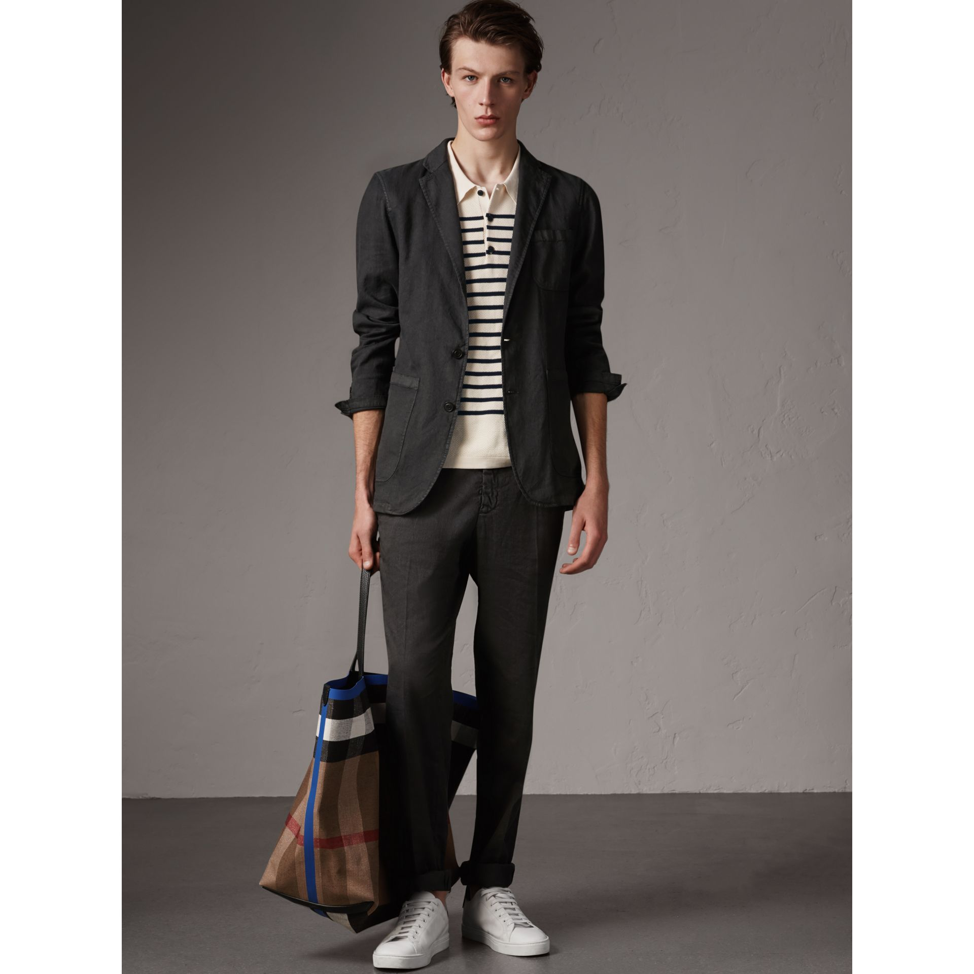 Slim Fit Linen Cotton Tailored Jacket in Dark Charcoal - Men | Burberry - gallery image 5