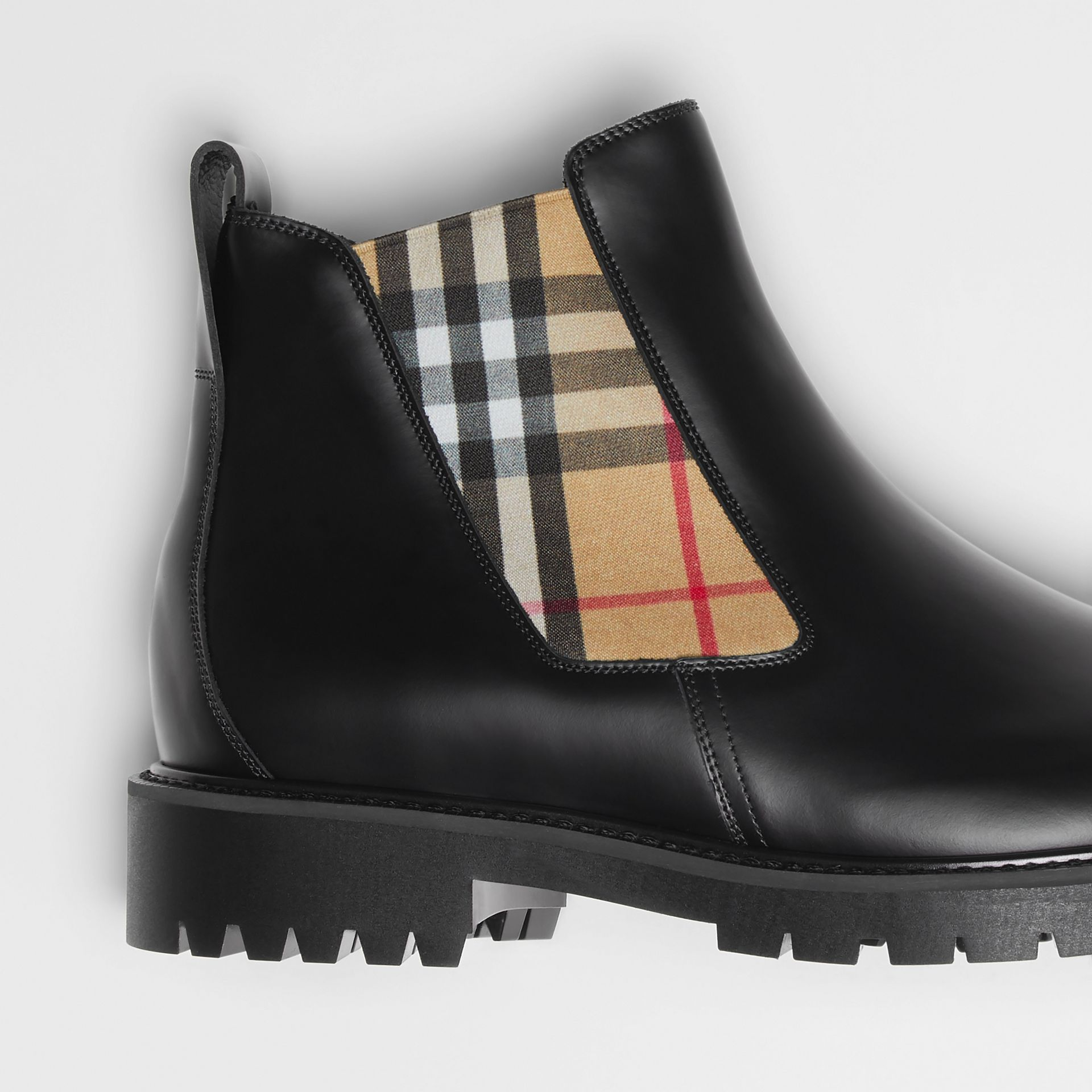 Vintage Check Detail Leather Chelsea Boots in Black - Men | Burberry United States - gallery image 1