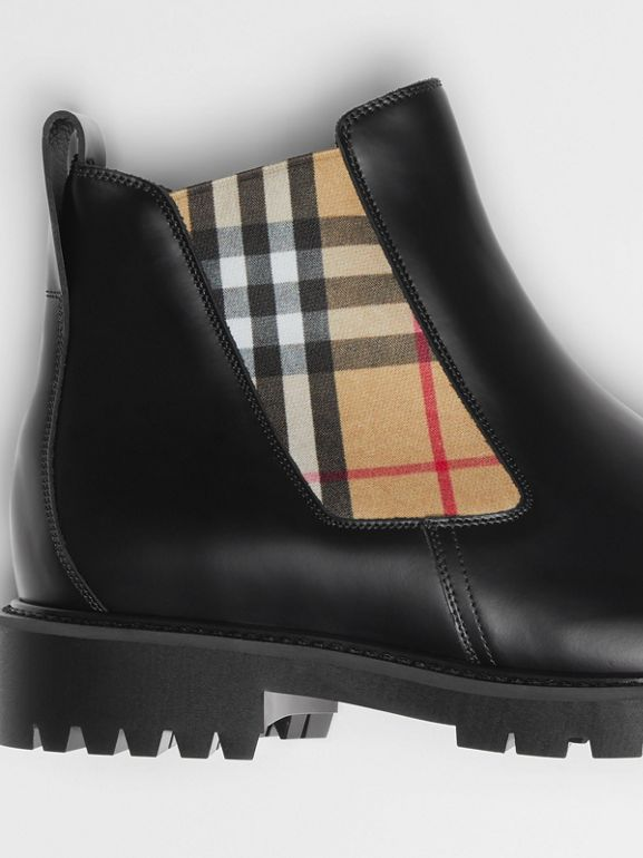 Vintage Check Detail Leather Chelsea Boots in Black - Men | Burberry Singapore - cell image 1