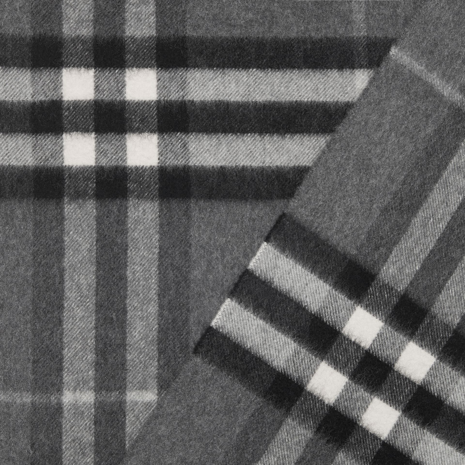 The Classic Check Cashmere Scarf in Mid Grey | Burberry United Kingdom - gallery image 1