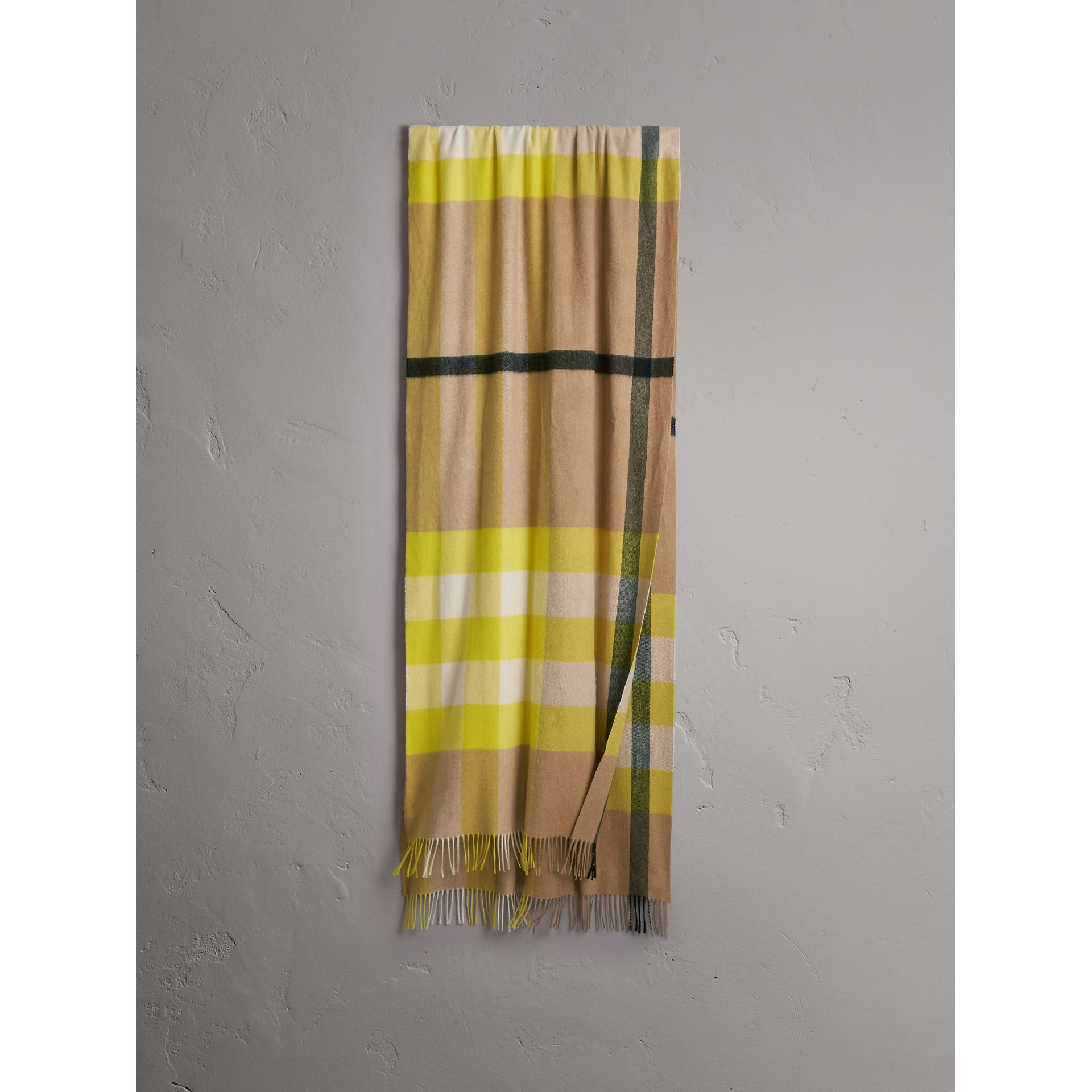 Oversize Check Cashmere Scarf in Bright Lemon | Burberry United States - gallery image 0