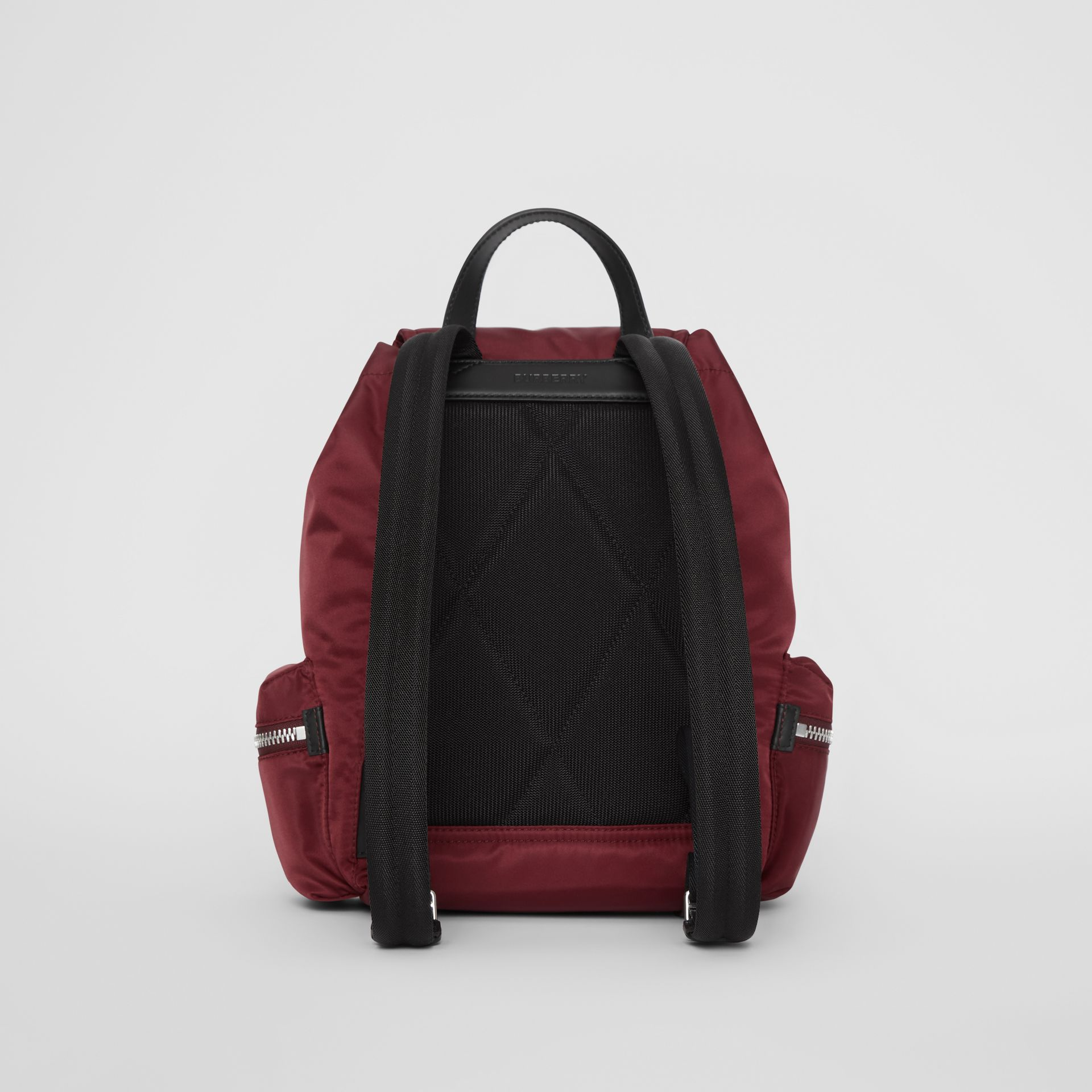 The Medium Rucksack in Logo Print Nylon in Burgundy - Women | Burberry Hong Kong - gallery image 7