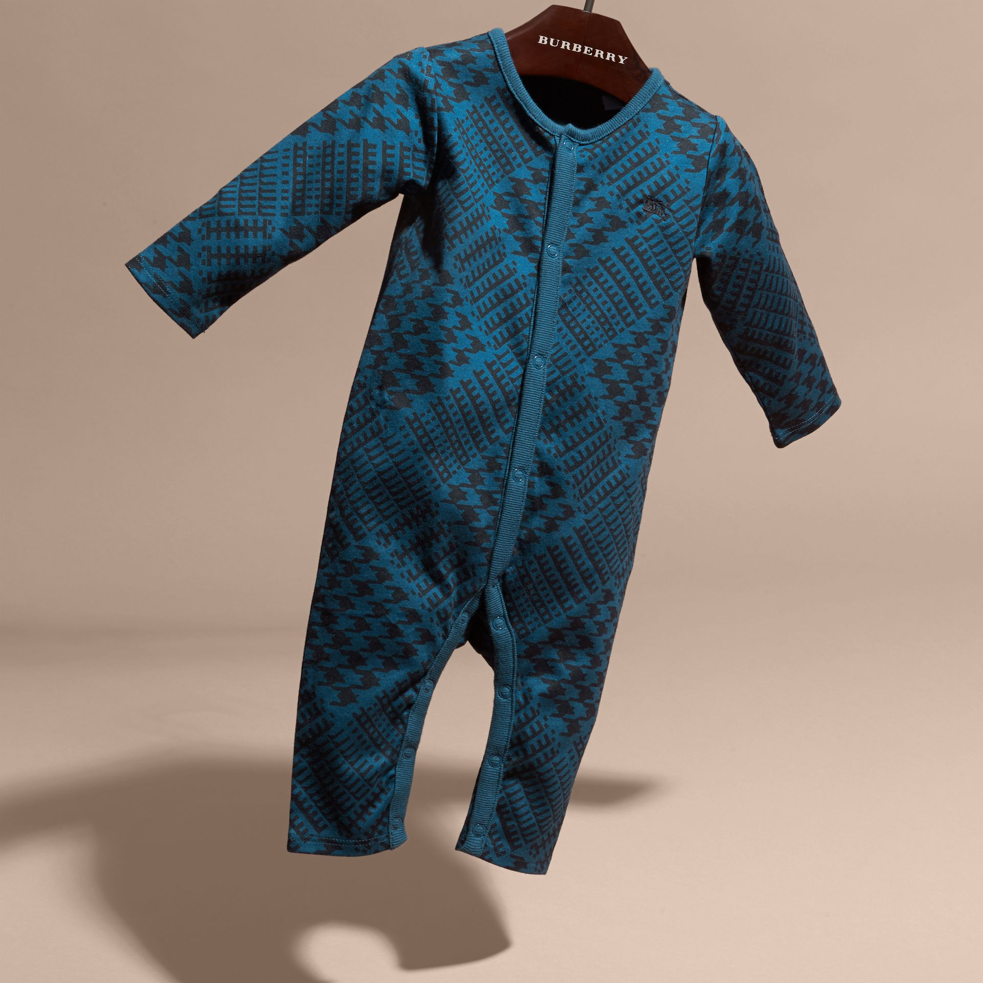 Mineral blue Prince of Wales Check Print Cotton Jumpsuit - gallery image 3