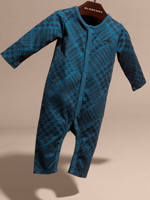Mineral blue Prince of Wales Check Print Cotton Jumpsuit - cell image 2