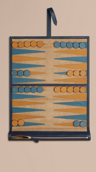 Jeu de backgammon de voyage avec étui en cuir