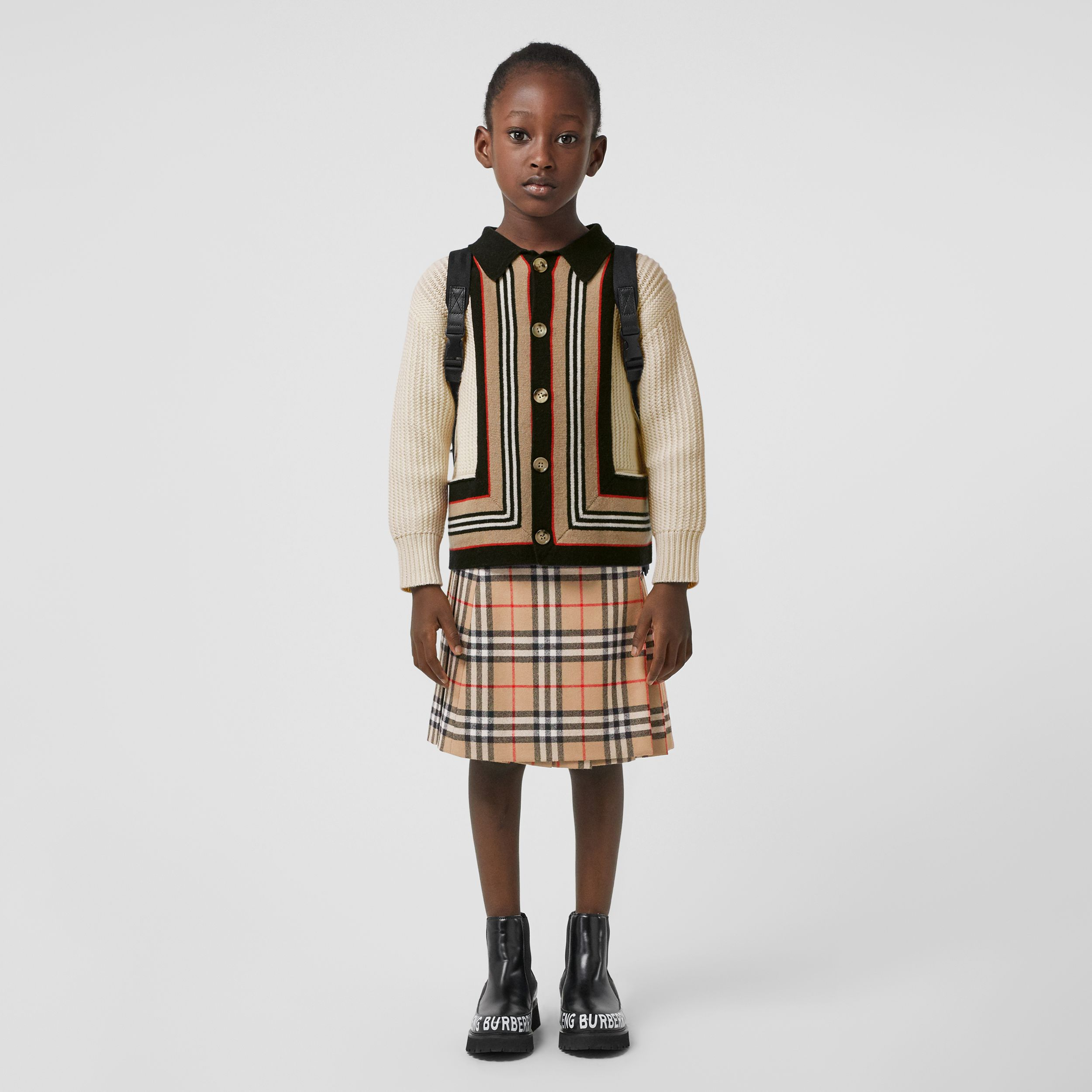 Lambskin Detail Vintage Check Wool Kilt in Archive Beige | Burberry - 3