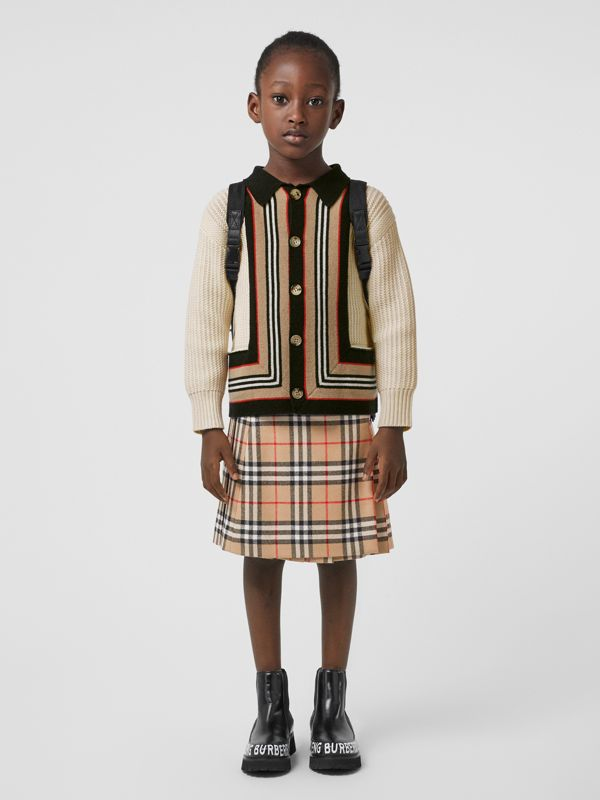Lambskin Detail Vintage Check Wool Kilt in Archive Beige | Burberry - cell image 2