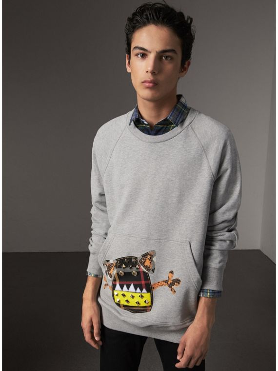 Creature Motif Jersey Sweatshirt in Pale Grey Melange