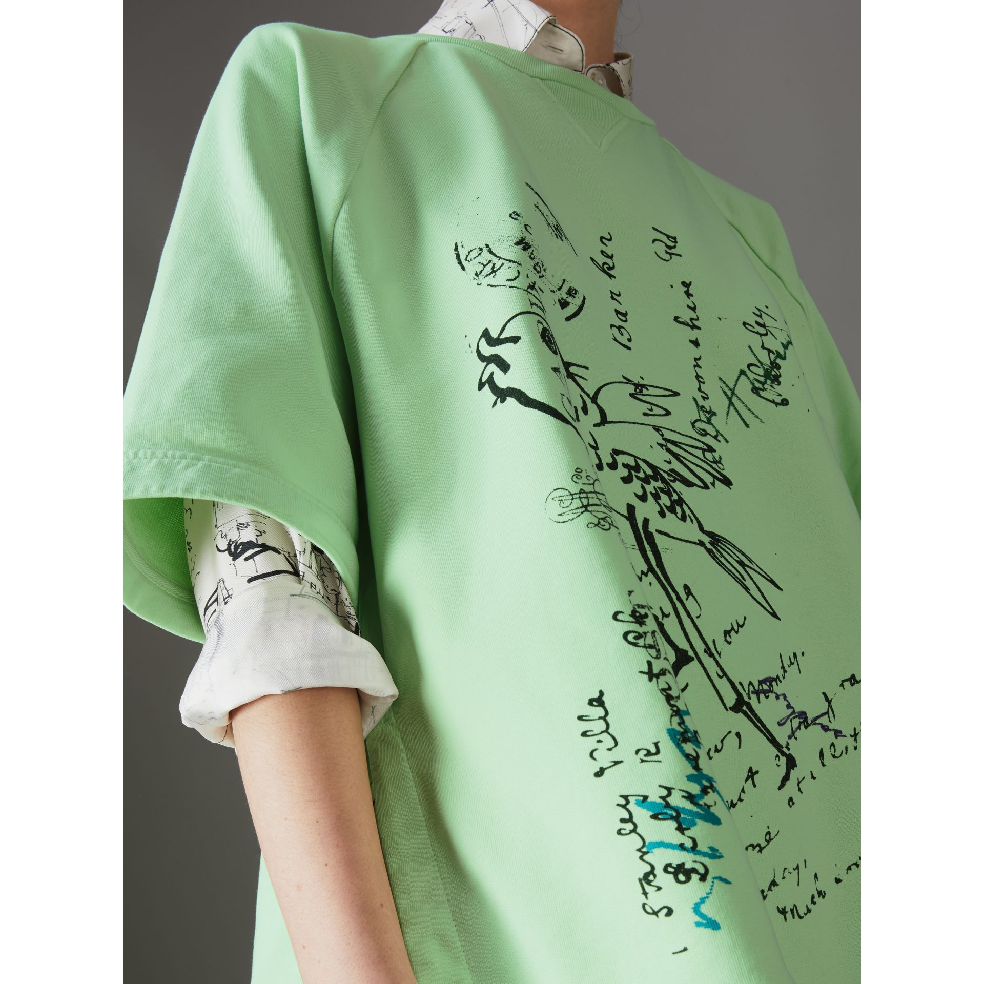 Postcard Print Cotton Jersey T-shirt in Mint Green - Women | Burberry - gallery image 1