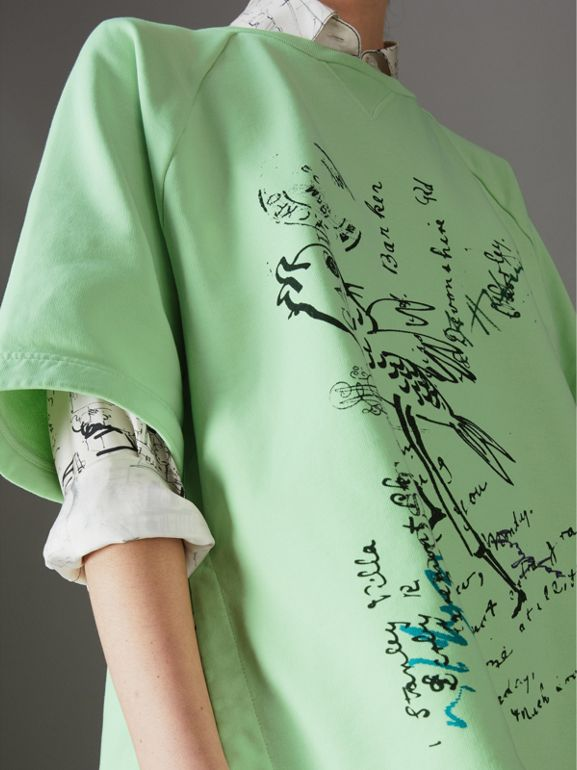 Postcard Print Cotton Jersey T-shirt in Mint Green - Women | Burberry - cell image 1