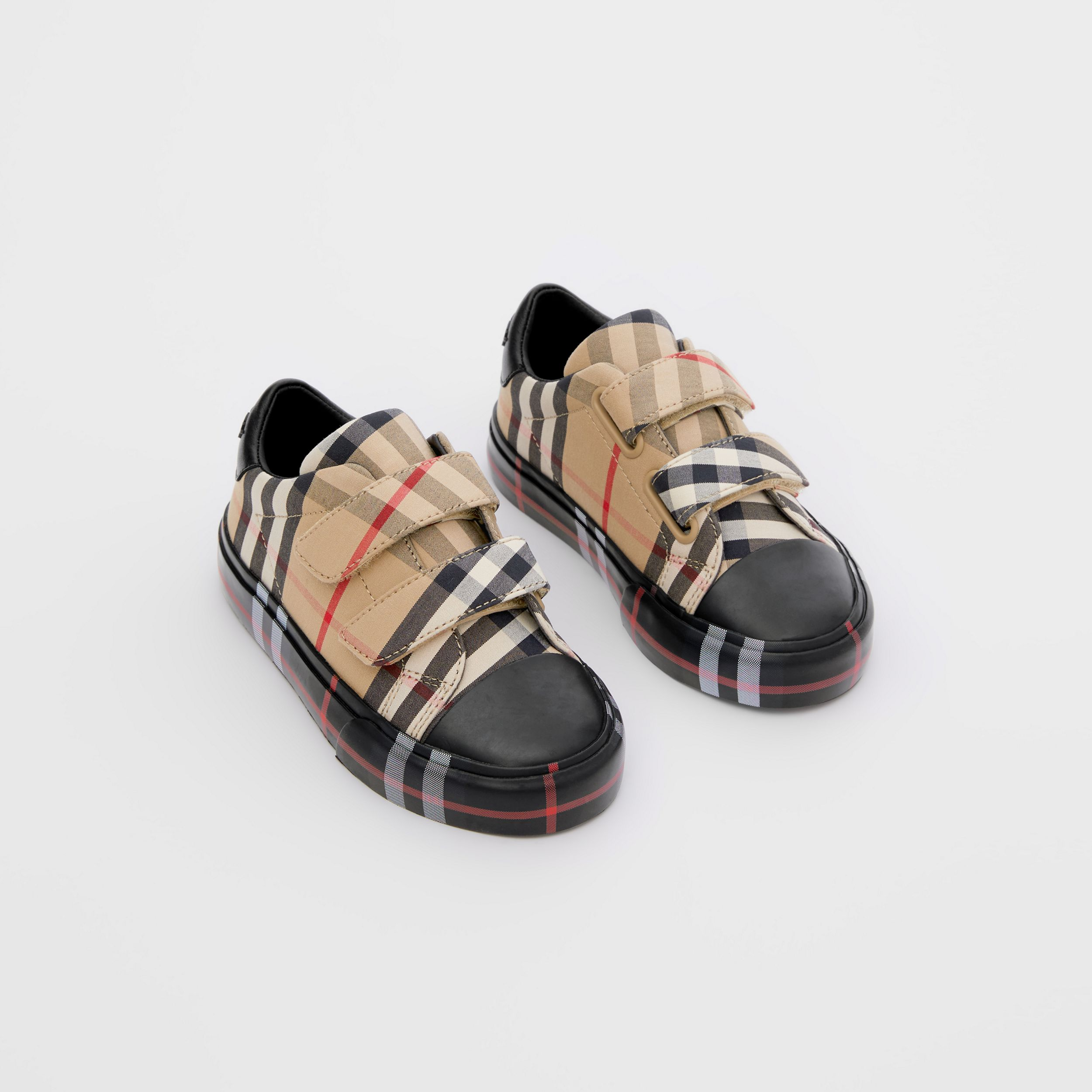 Contrast Check Cotton Sneakers in Archive Beige/black - Children | Burberry - 1