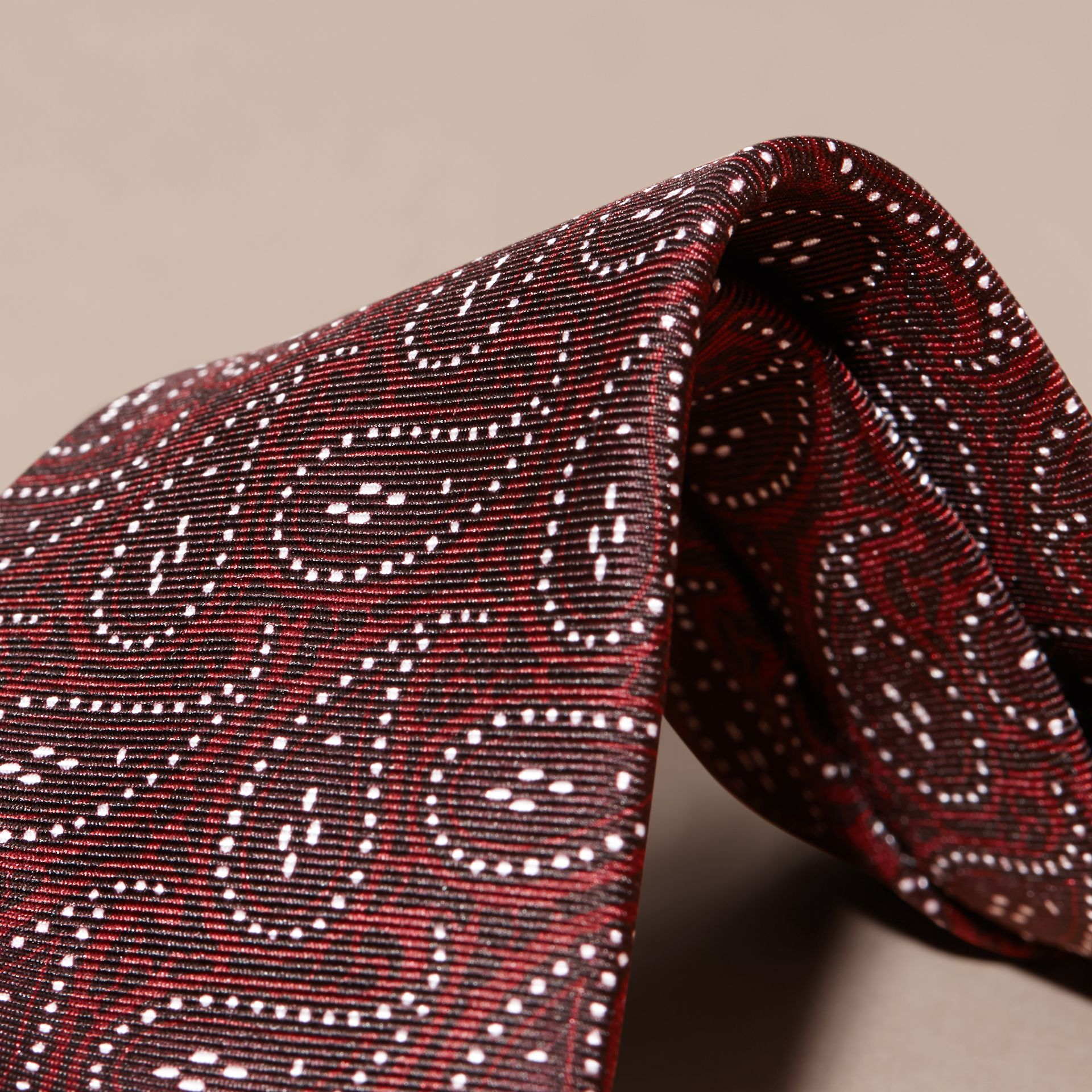 Modern Cut Paisley Print Silk Tie in Dark Elderberry - gallery image 2