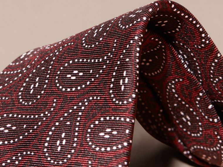 Modern Cut Paisley Print Silk Tie in Dark Elderberry - cell image 1