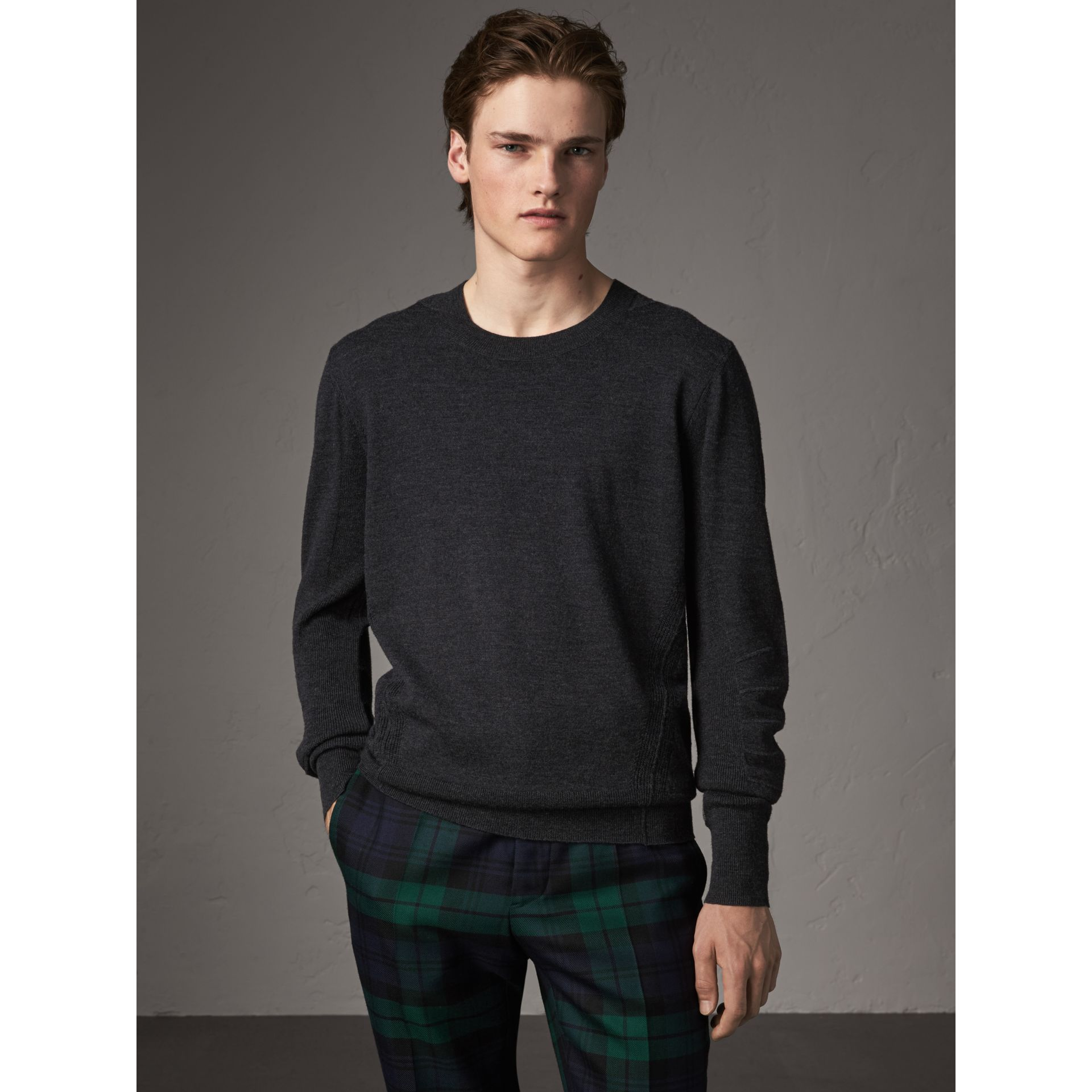 Check Detail Merino Wool Sweater in Charcoal - Men | Burberry Hong Kong - gallery image 4