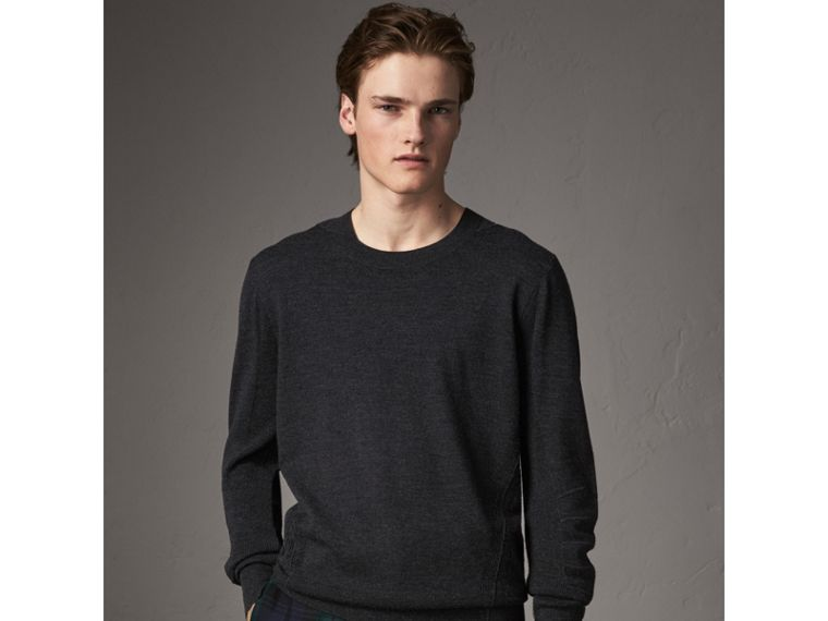 Check Detail Merino Wool Sweater in Charcoal - Men | Burberry Hong Kong - cell image 4