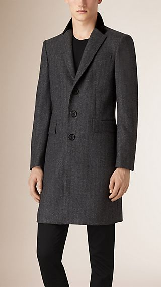 Virgin Wool Cashmere Topcoat with Velvet Topcollar